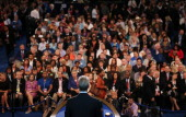 People listen as Chicago Mayor Rahm Emanuel speaks during day one of the Democratic National Convention at Time Warner Cable Arena on September 4...