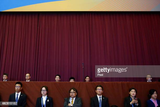People listen to Chinese President Xi Jinping speak during the opening ceremony of the Belt and Road Forum on May 14 2017 in Beijing China The Belt...