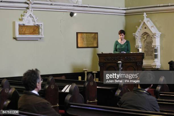 People listen to the names of the more than 3500 victims of the Northern Ireland Troubles being read out in the Unitarian Chruch on St Stephens Green...