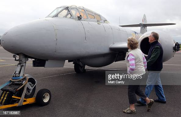 People look at a Gloster Meteor T7 jet after it was moved to its new home at the Jet Age Museum which is based at Gloucestershire Airport in...