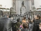 People look at Manneken Pis near la Grande Place on February 19 2008 in Brussels Belgium