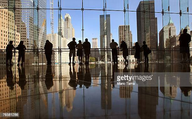People look of the view the the World Trade Center site from the World Financial Center September 4 2007 in New York City The sixth anniversary of...