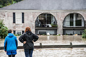 People look out over damage caused by flood water October 4 2015 in Columbia South Carolina South Carolina experienced a record rainfall with at...