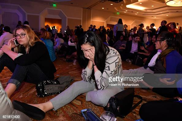 People look stunned as the numbers continue to turn in favor of Republican candidate Donald Trump and against Democratic candidate Hillary Clinton at...