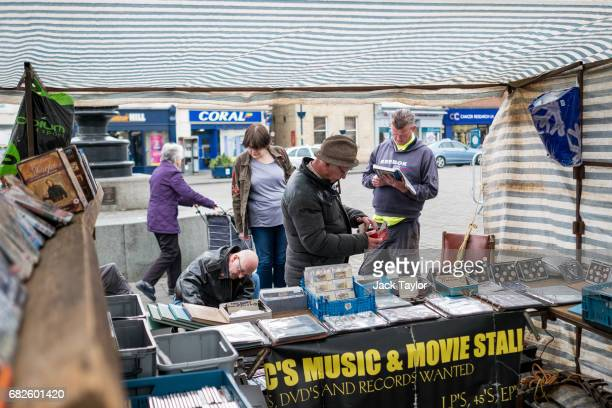 People look through items at a stall in the Boston Market on May 13 2017 in Boston United Kingdom The town of Boston in Lincolnshire voted with a 75%...