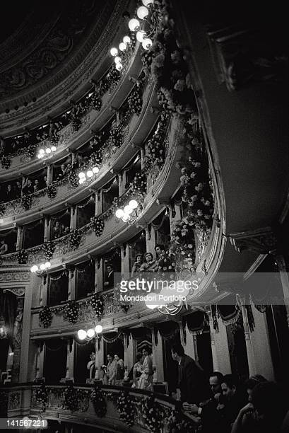 People looking from the balconies of La Scala in Milan during the inauguration of the theatre season Milan