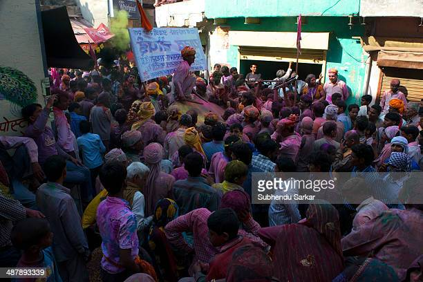 People make merry on the streets of Barsana as the small town comes to life on Holi Barsana a village near Mathura in Uttar Pradesh observes Holi...