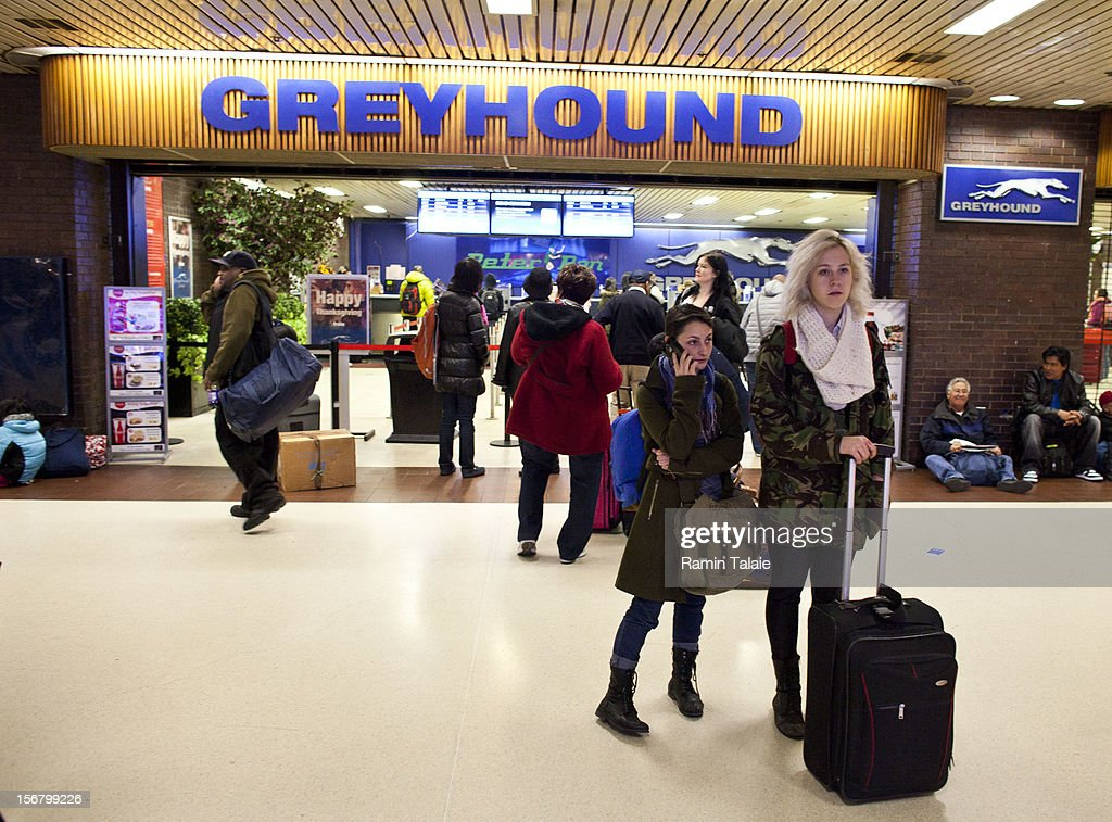 People make their way outside of a Greyhound Lines ticket office at the New York Port Authority bus terminal in Manhattan on November 21, 2012 in New York City. The Port Authority of New York and New Jersey is expecting to handle a high number of travelers at its hubs, bridges, and tunnels ahead of the Thanksgiving holiday.