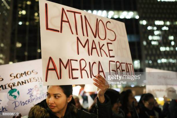 People many of whom are undocumented attend a Valentines Day rally organized by the New York Immigration Coalition called 'Love Fights Back' on...