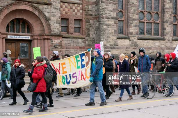 TORONTO ON NOVEMBER 22 People march along Gerrard St E during a OCAP protest the lack of affordable housing November 22 2017 Canada's longawaited...