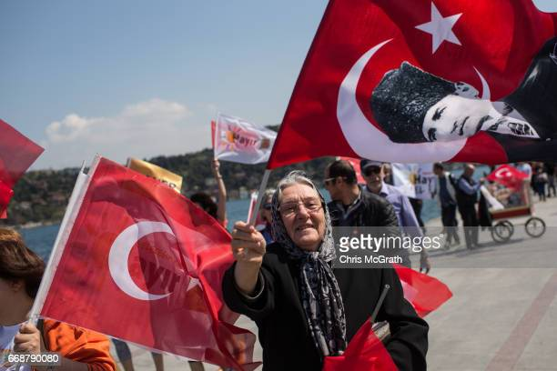 People march along the Bosphorus shoreline in support of the 'Hayir' vote on April 15 2017 in Istanbul Turkey Campaigning by both the 'Evet' and...