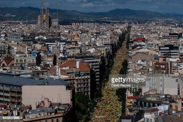 People march during a demonstration celebrating the Catalan National Day on September 11 2017 in Barcelona Spain The Spanish Northeastern autonomous...