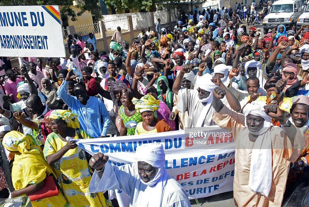 People march during a rally in N'Djamena on January 17 2015 to show their support of the authorities' decision to send troops to fight Nigeria's Boko...