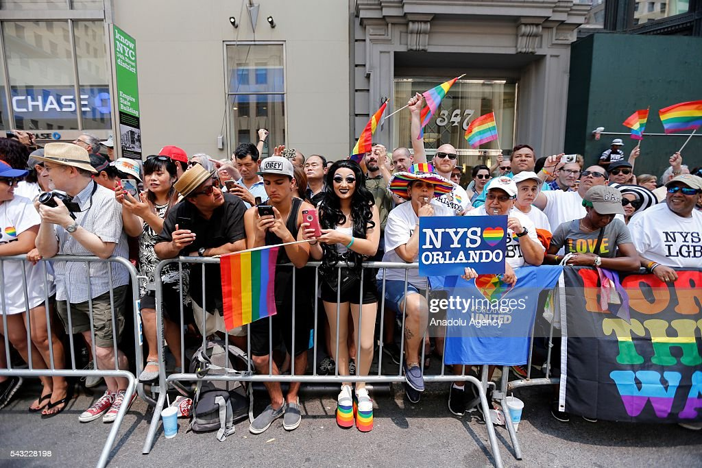 People march during the 46th annual New York City Gay Pride Parade in New York, New York, USA, 26 June 2016.