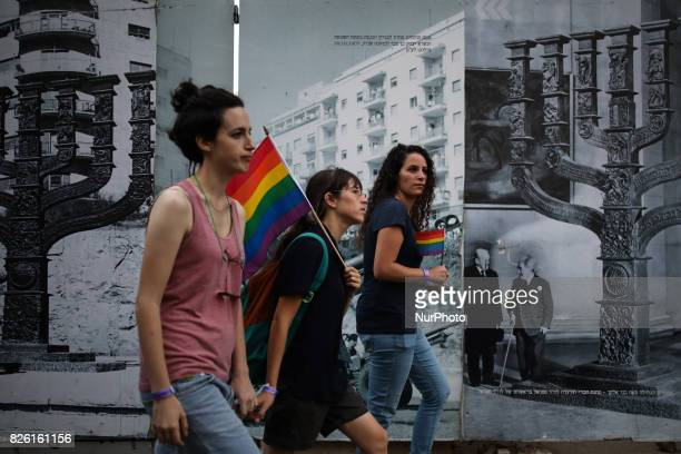 People march during the annual Gay Pride parade in Jerusalem Israel August 03 2017 22000 March in Jerusalem Pride Parade Jerusalem Under Heavy...