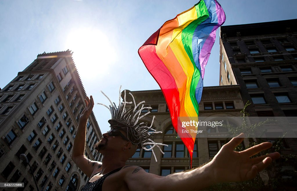People march during the New York City Pride March, June 26, 2016 in New York City. This year was the 46th Pride march in New York City