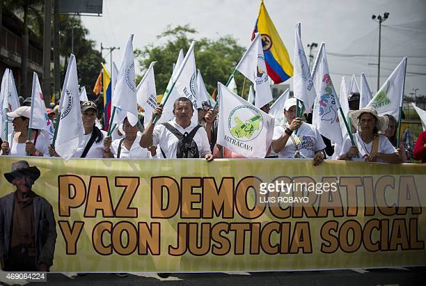 People march during the Peace Day in Cali Colombia on April 9 2015 The Colombian government is negotiating with the Marxistinspired Revolutionary...