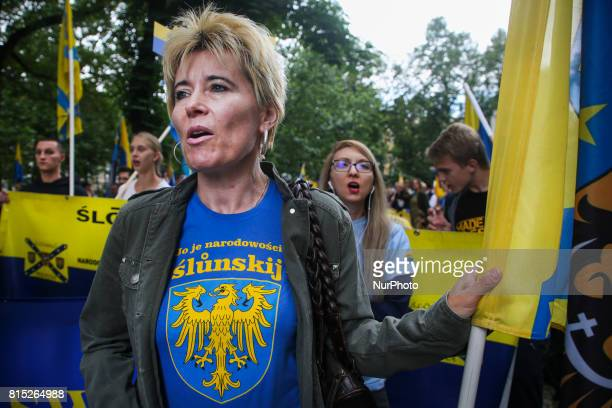 People march for Silesian autonomy in Katowice Poland on 15 July 2017 The March was organized by Ruch Autonomii Slaska calling on the Polish...