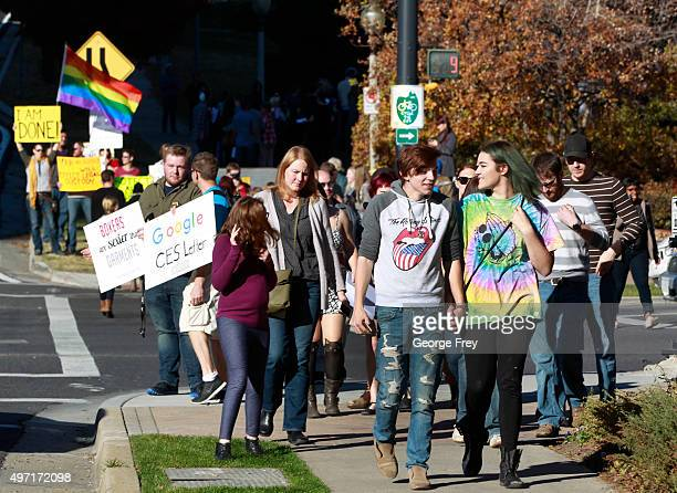 People march from City Creek Park after many submitted their resignations from the Church of Jesus Christ of LatterDay Saints in response to a recent...