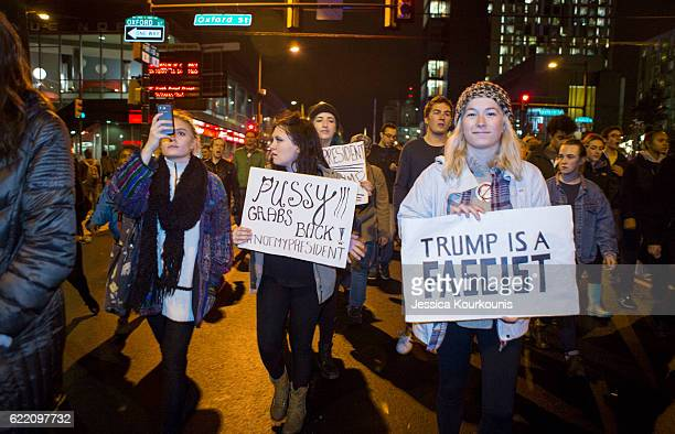People march in the streets in protest of the election of Republican Donald Trump on November 9 2016 in North Philadelphia Pennsylvania Trump's...