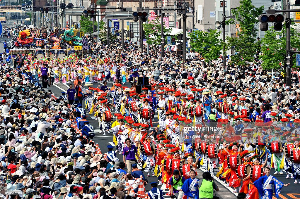 People march on during the Tohoku Rokkon Festival on June 1, 2013 in Fukushima, Japan. The festival, assembles summer festivals of 6 prefectures of Tohoku region, began after the magnitude 9.0 earthquake and tsunami two years ago to pray for recovery and restoration.