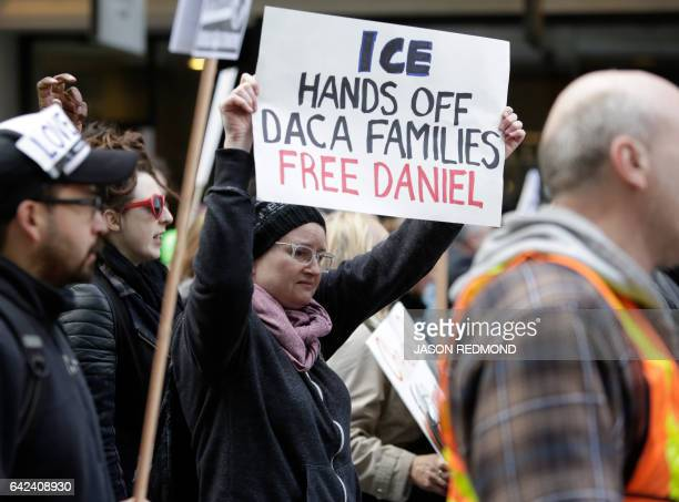 People march to protest the detention of Daniel Ramirez Medina a Deferred Action for Childhood Arrivals recipient by US Immigration and Customs...