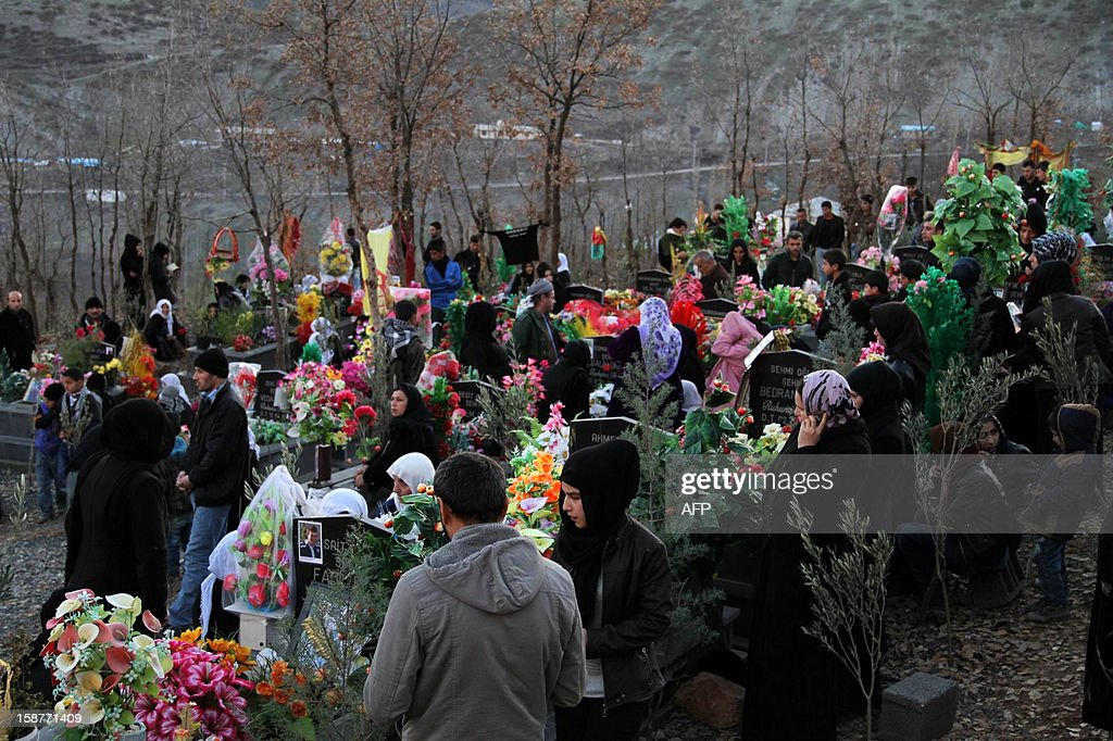 People mourn for the victims of a Turkish air raid, at the cemetery of Gulyazi Village on December 28, 2012 on the first anniversary of a Turkish military air strike aimed at Kurdish rebels that killed 34 civilians working as smugglers at the Turkey-Iraq border in Sirnak. AFP PHOTO/STR