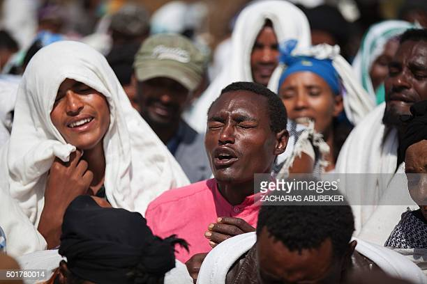 People mourn the death of Dinka Chala who was shot dead by the Ethiopian forces the day earlier in the Yubdo Village about 100 km from Addis Ababa in...