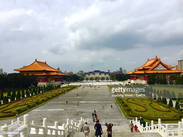 People Moving Down Of Steps From National Chiang Kai-Shek Memorial Hall