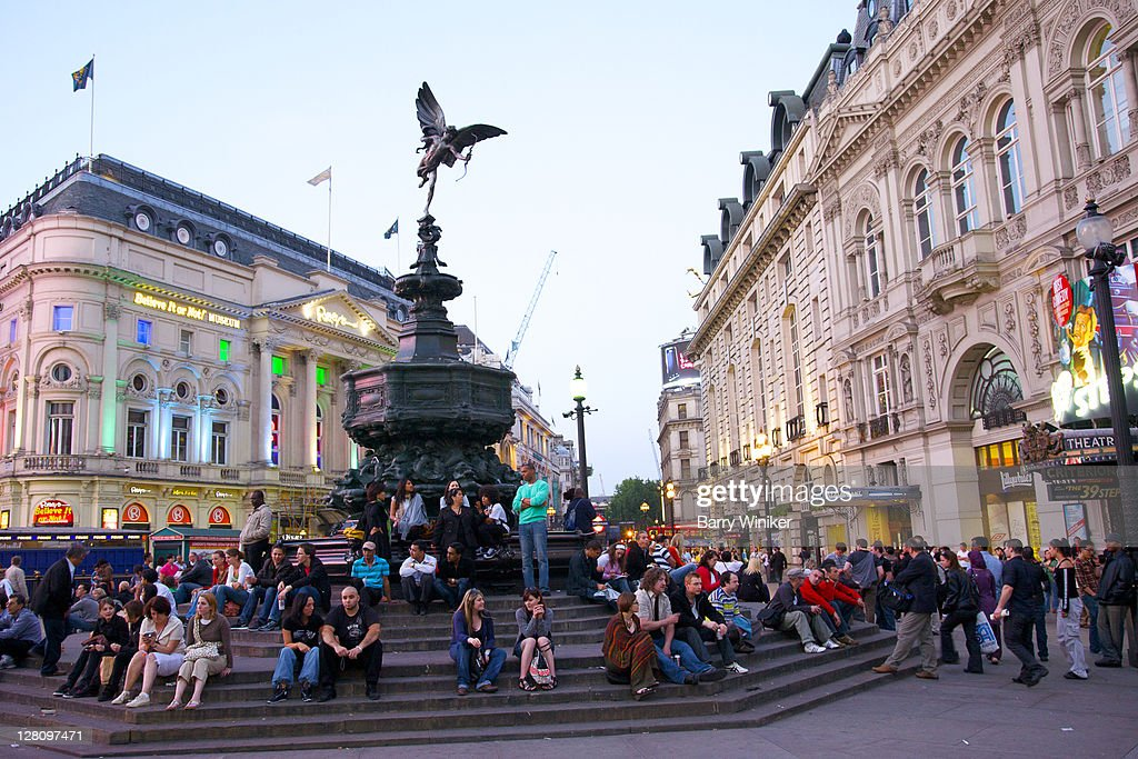 People Near Statue At Piccadilly Circus London United ...