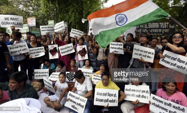 People of Gorkha Foundation protest against the authorities' imposition of Bengali language among the school of Darjeeling where Nepali is the...