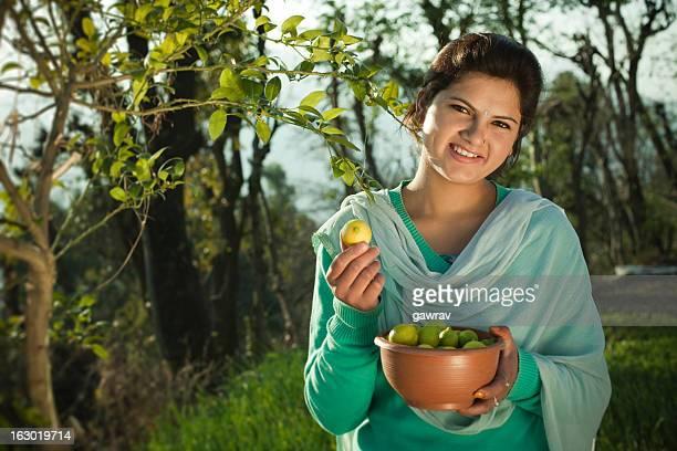 People of Himachal Pradesh: Beautiful young woman collecting lem