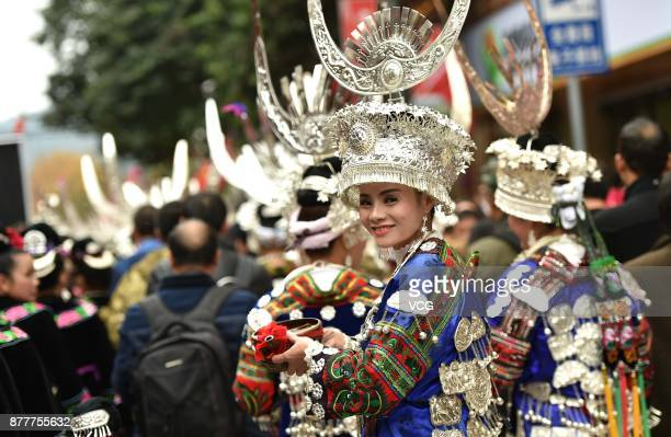 People of Miao ethnic group celebrate the Miao's New year's Day at Leishan County in Qiandongnan Miao and Dong Autonomous Prefecture Guizhou Province...