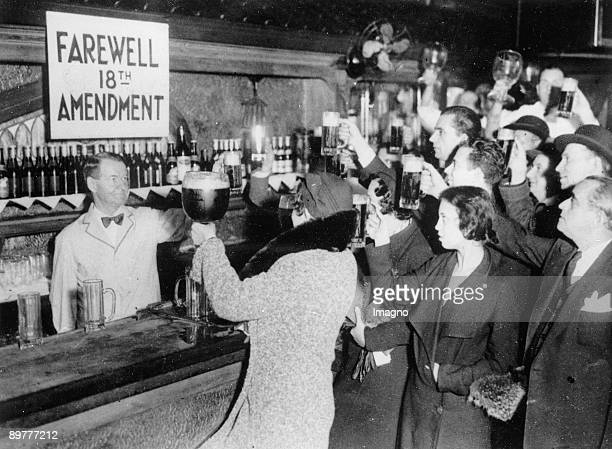 People of New York are celebrating the end of the Prohibition with beer Photograpg 1933
