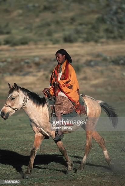 People of the Oromo tribe travel to market. Dinsho Village. Bale Mountains National Park, Ethiopia.