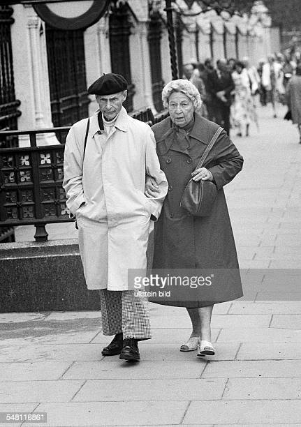 people older couple takes a walk aged 70 to 80 years Great Britain England London