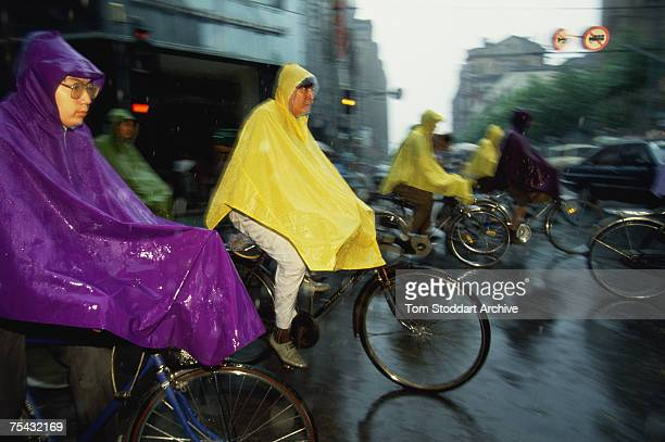 People on bicycles during rush hour in Beijing 1993