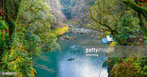 people on boating in Miyazaki Takachiho Gorge river : Stock Photo