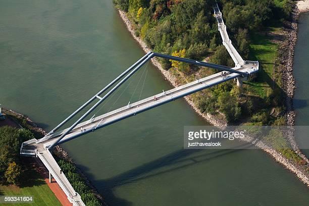 People on bridge over Rhine