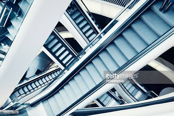 People on crossing Escalators