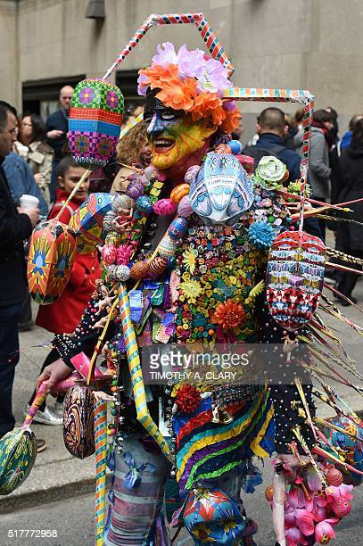 People on Fifth Avenue during the annual Easter Parade and Easter Bonnet Festival March 27 2016 in New York The Easter Parade is a New York tradition...