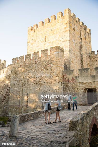 People on footbridge, Castelo de Sao Jorge, Lisbon, Portugal