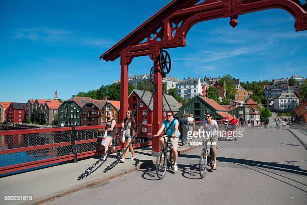 People on Gamle Bybro Old Town Bridge