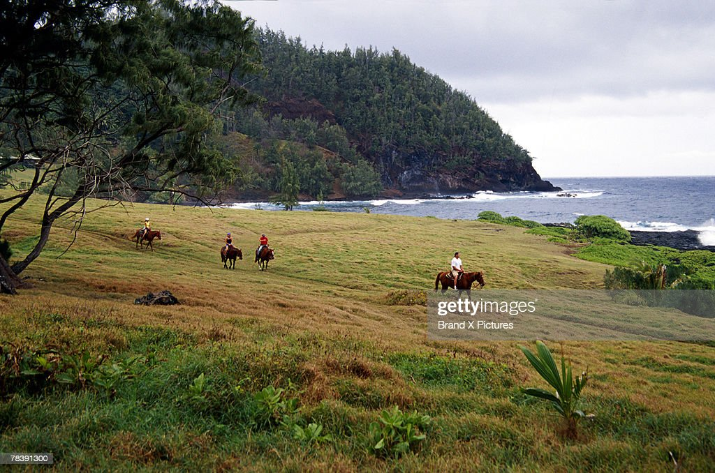 People on horseback, Hana Ranch, Maui, Hawaii : Stock Photo