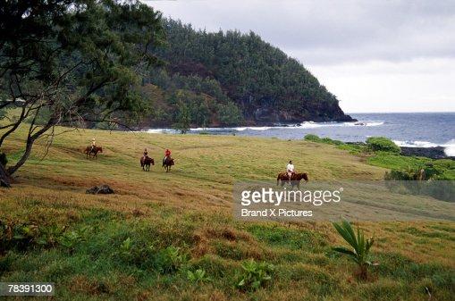 People on horseback, Hana Ranch, Maui, Hawaii : Stock Photo