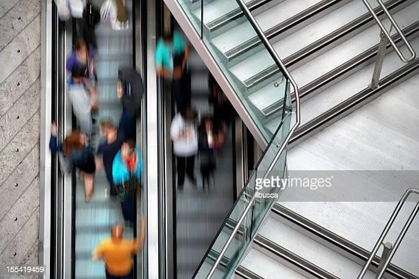 People on Liverpool One escalators