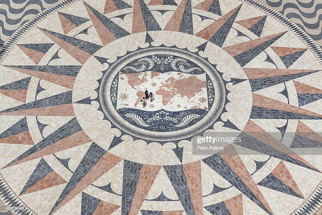 People on Mosaic Map, Lisbon, Portugal : Stock Photo