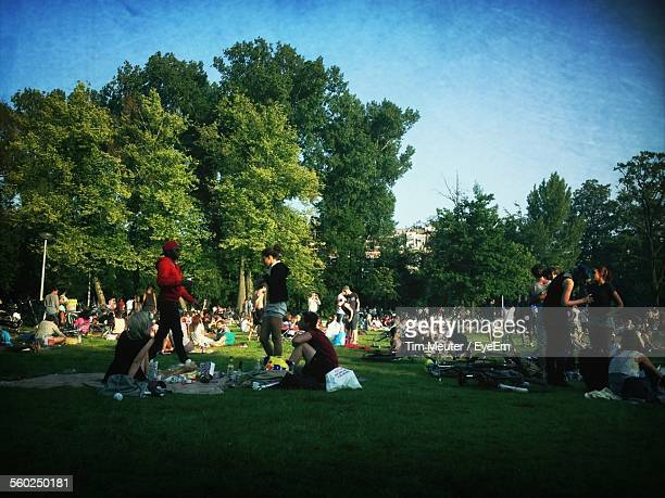 People On Picnic In Park
