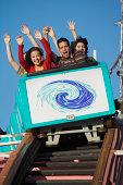 People on roller coaster, Belmont Park, San Diego