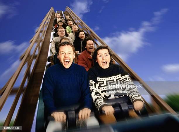 People on rollercoaster ride, screaming (Digital Enhancement)